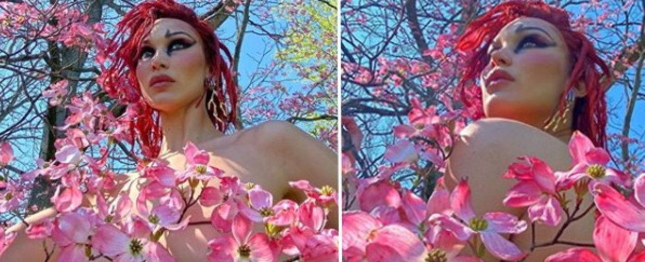 Bella Hadid in versione Madre Natura, super sexy in topless tra i fiori